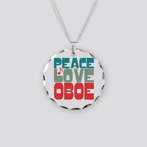 Peace Love Oboe Necklace Circle Charm
