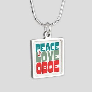 Peace Love Oboe Silver Square Necklace