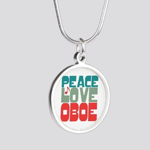 Peace Love Oboe Silver Round Necklace
