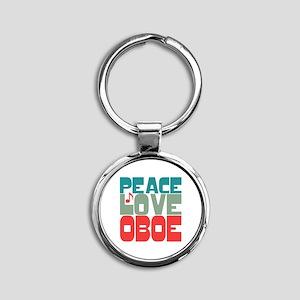 Peace Love Oboe Round Keychain