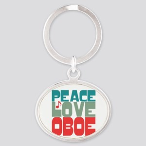 Peace Love Oboe Oval Keychain