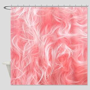 Pink Fake Fur Pattern Shower Curtain