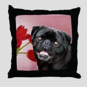 Easter pug a Throw Pillow
