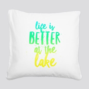 At the Lake Square Canvas Pillow