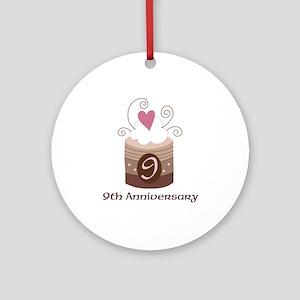 9th Anniversary Cake Ornament (Round)
