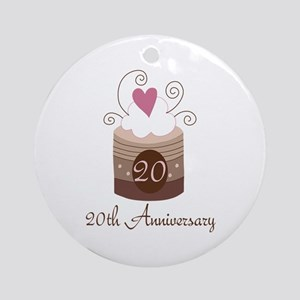 20th Anniversary Cake Ornament (Round)