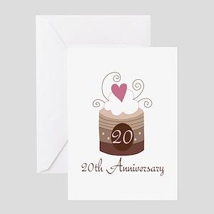 20th Anniversary Cake Greeting Card