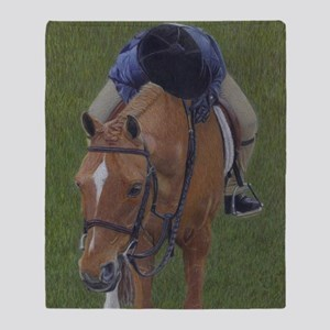 Young Rider and Pony Throw Blanket