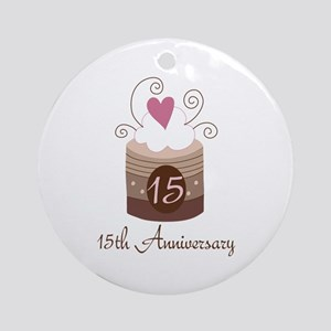 15th Anniversary Cake Ornament (Round)