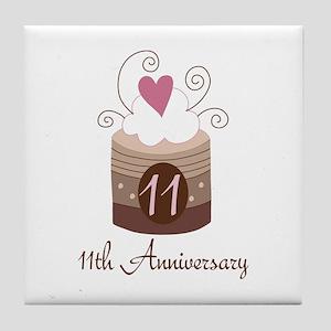 11th Anniversary Cake Tile Coaster