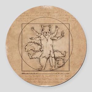 Vitruvian Squirrel Round Car Magnet