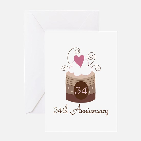 34th Anniversary Cake Greeting Card