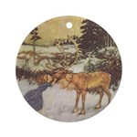 Dulac's Gerda & Reindeer Ornament (Round)