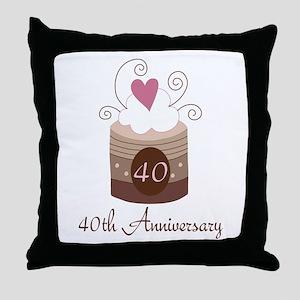 40th Anniversary Cake Throw Pillow