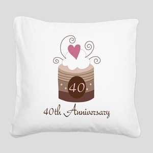 40th Anniversary Cake Square Canvas Pillow