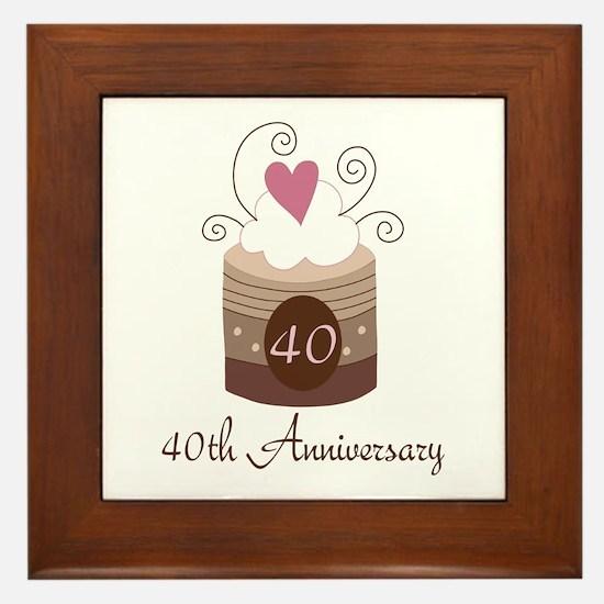 40th Anniversary Cake Framed Tile