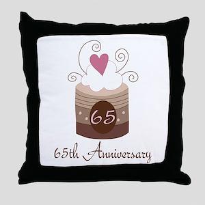65th Anniversary Cake Throw Pillow