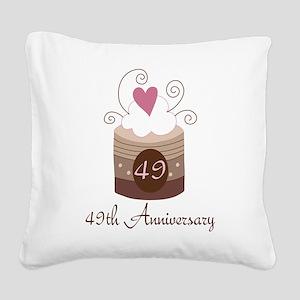 49th Anniversary Cake Square Canvas Pillow