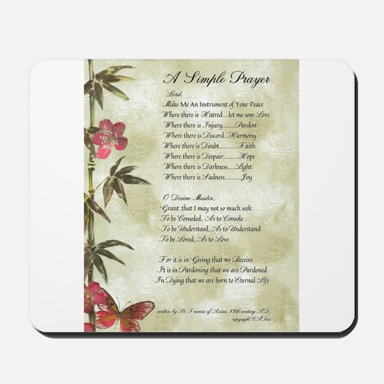Pope Francis St. Francis SIMPLE PRAYER-Bamboo Mous