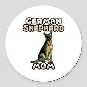 German Shepherd Mom Round Car Magnet