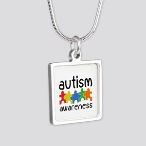 Autism Awareness Silver Square Necklace