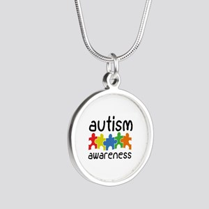 Autism Awareness Silver Round Necklace