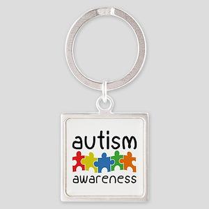 Autism Awareness Square Keychain