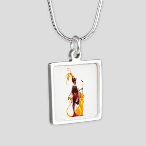 Sekhmet Silver Square Necklace