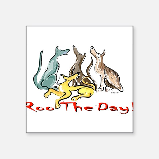 Greyhound Roo Color Rectangle Sticker
