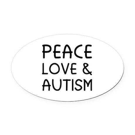 Peace Love & Autism Oval Car Magnet