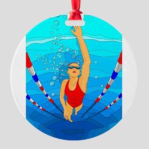 Woman swimming Ornament