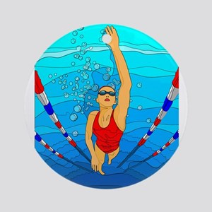 Woman swimming Ornament (Round)
