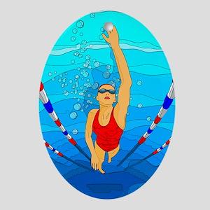 Woman swimming Ornament (Oval)
