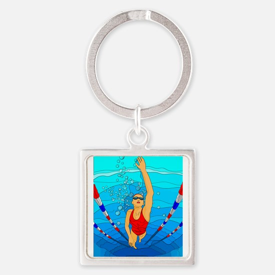 Woman swimming Keychains