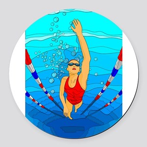 Woman swimming Round Car Magnet
