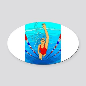 Woman swimming Oval Car Magnet