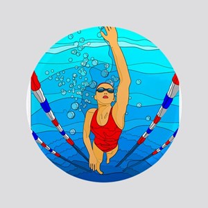 "Woman swimming 3.5"" Button"
