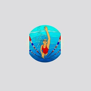 Woman swimming Mini Button