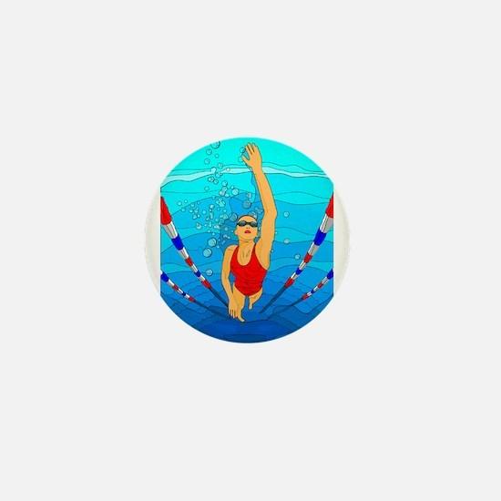 Woman swimming Mini Button