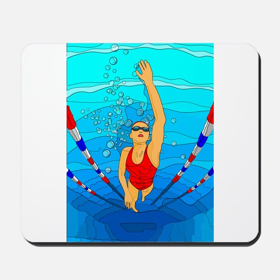 Woman swimming Mousepad