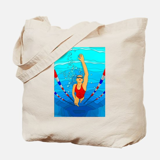 Woman swimming Tote Bag