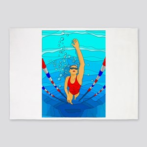 Woman swimming 5'x7'Area Rug