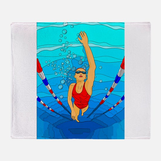 Woman swimming Throw Blanket