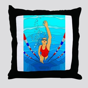 Woman swimming Throw Pillow