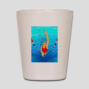 Woman swimming Shot Glass