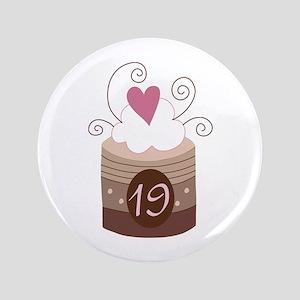 "19th Birthday Cupcake 3.5"" Button"