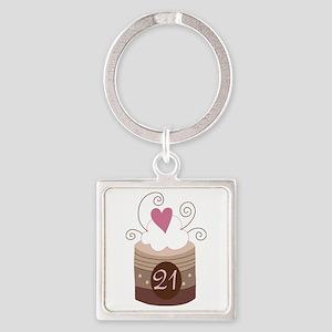 21st Birthday Cupcake Square Keychain