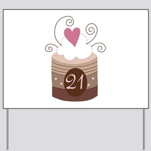 21st Birthday Cupcake Yard Sign