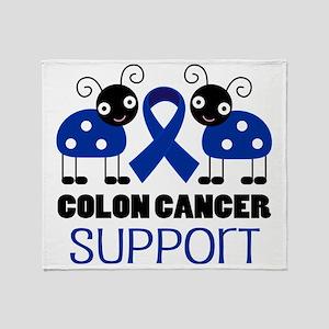 Colon Cancer Support ladybug Throw Blanket