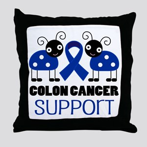 Colon Cancer Support ladybug Throw Pillow